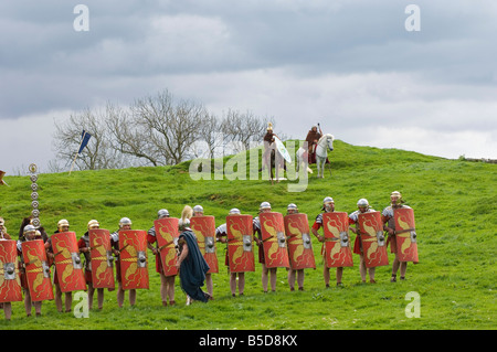 Roman soldiers of Ermine Street Guard, cavalry in support, Birdoswald Roman Fort, Hadrians Wall, Northumbria, England - Stock Photo