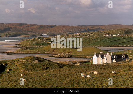 Uig sands (Traigh Chapadail) tidal area, from near Timsgarry, Isle of Lewis, Outer Hebrides, Scotland, Europe - Stock Photo