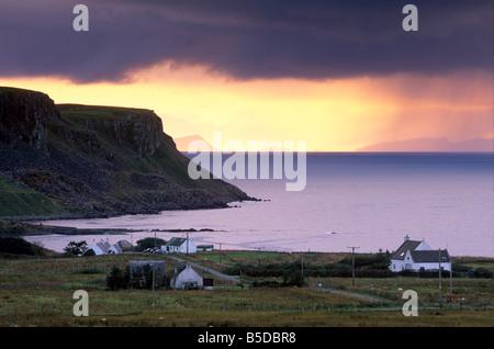 Sunset and stormy weather near Bornesketaig, Trotternish, Isle of Skye, Inner Hebrides, Scotland, Europe - Stock Photo