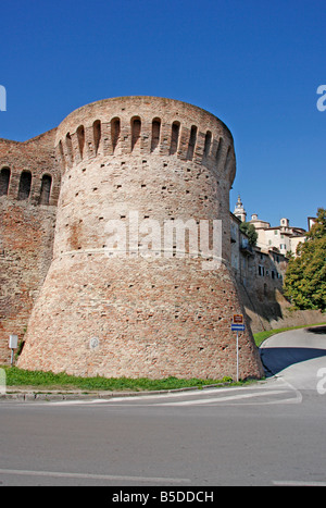 the 14th century historic walls of the beautiful hilltown of Jesi in Le Marche, Italy are built on Roman foundations - Stock Photo