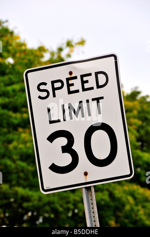 American 30mph speed limit sign - Stock Photo
