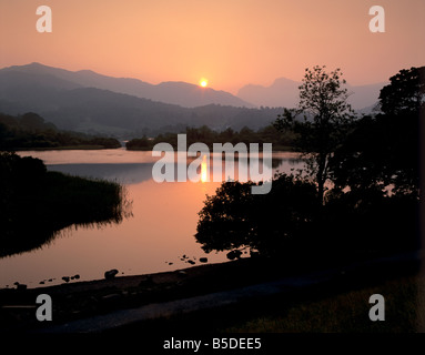 Sunset on Elter Water, near Ambleside, Lake District National Park, Cumbria, England, Europe - Stock Photo