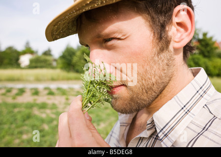 Farmer smelling rosemary, portrait, close-up - Stock Photo
