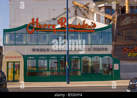 Harry Ramsden's world famous fish and chips restaurant along the seafront promenade in Great Yarmouth Norfolk Uk - Stock Photo
