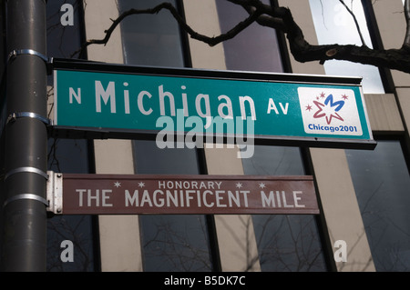 Street signs, Chicago, Illinois, USA, North America - Stock Photo