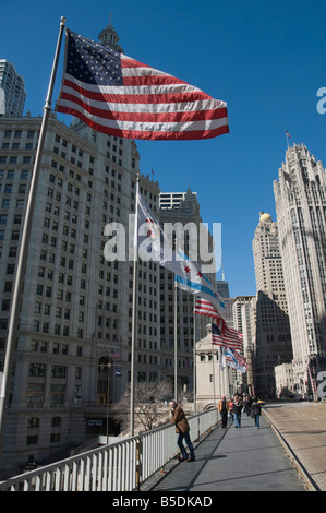 Wrigley Building on left, Tribune Tower on right, Chicago, Illinois, USA, North America - Stock Photo
