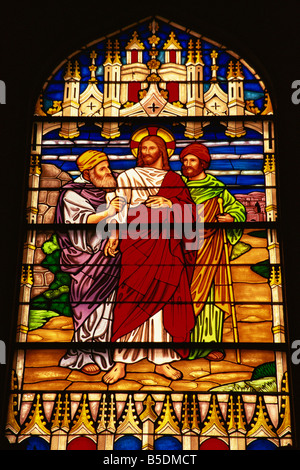 Stained glass in St Paul s Church Key West Florida United States of America North America - Stock Photo