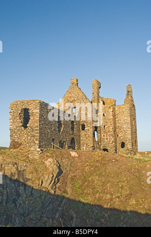 The 16th century clifftop Dunskey Castle, overlooking the Irish Sea, near Portpatrick, Dumfries and Galloway, Scotland, - Stock Photo