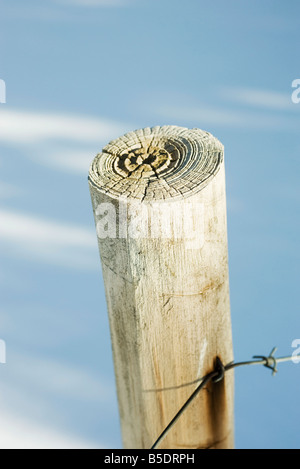 Wooden post with barbed wire, snow in background, close-up - Stock Photo