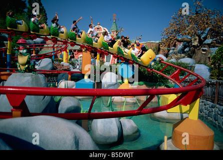 Rollercoaster in Mickey's Toontown, Disneyland, Los Angeles, California, USA, North America - Stock Photo