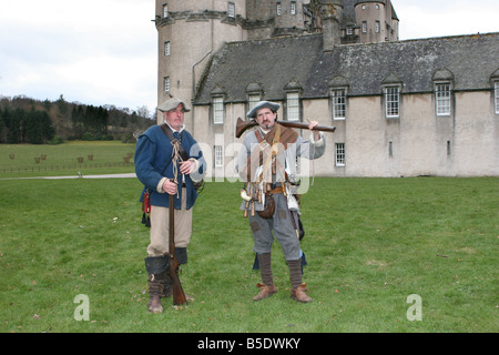 Costumed Performers _ Rifleman in historical period costumes of The Sealed Knot, Medieval Society, at Castle Fraser, - Stock Photo