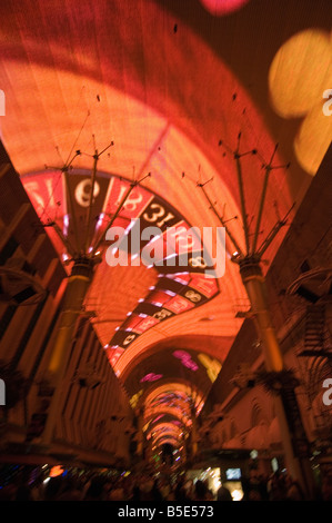 Fremont Street Light and Sound Show Experience, Fremont Street, the older part of Las Vegas, Nevada, USA, North - Stock Photo