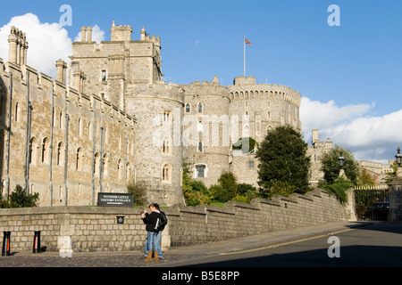 View of Windsor castle with tourists Berkshire, England, UK - Stock Photo
