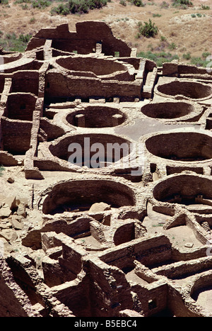 Aerial view showing detail of Kivas dating from 1000 1100 AD at Pueblo Bonito Chaco Canyon National Monument New - Stock Photo