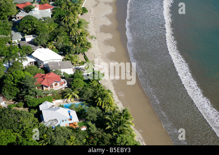Arial view over the beach in San Juan del Sur Nicaragua central america pacific ocean pacific coast - Stock Photo