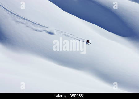 Skier on an intact blanket of snow - Stock Photo