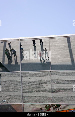 Reflection from the facade to The Mare Magnum shopping centre on the marina, barcelona, catalonia, spain - Stock Photo