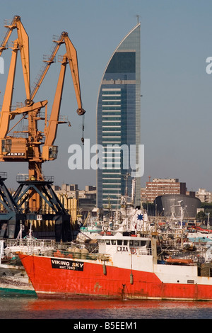 Antel tower and docks Montevideo Uruguay South America - Stock Photo