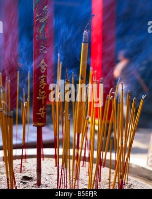 Close-up of incense sticks burning, Thien Hau pagoda, Chinese Buddhist temple, Ho Chi Minh City (Saigon), Vietnam, - Stock Photo
