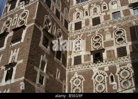 Architectural detail, Old City, Sana'a, UNESCO World Heritage Site, Yemen, Middle East - Stock Photo