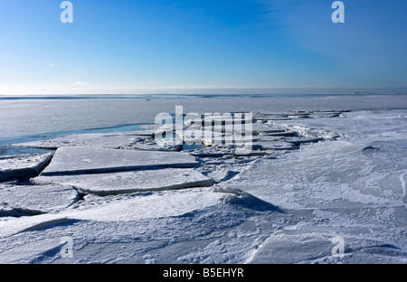 Ice floe on Gulf of Finland (part of Baltic sea) in February - Stock Photo