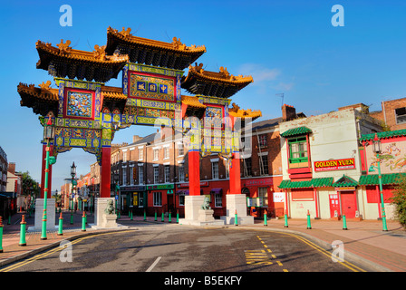 Ornate Chinese gateway to Chinatown area in Liverpool - Stock Photo