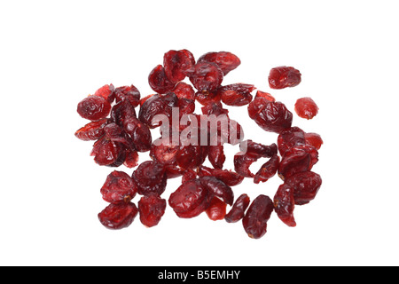 Dried cranberries cutout on white background - Stock Photo