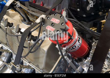 MSD race specification distributor on a high performance V8 race engine - Stock Photo