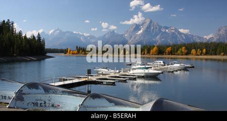 Colter Bay Marina, Jackson Lake, Grand Teton National Park - Stock Photo