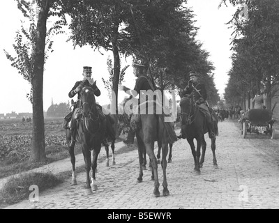 World War One ;Belgian cavalry soldiers during the Battle of Audegem in Belgium on the Western Front;September 1914 - Stock Photo