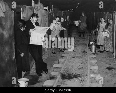 Life goes on as normal for residents of Ramsgate in Kent who take cover from the German air raids in underground - Stock Photo