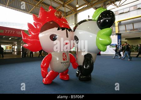 The mascots of the Summer Olimpics 2008 Huanhuan and Jingjing, Hong Kong, China - Stock Photo