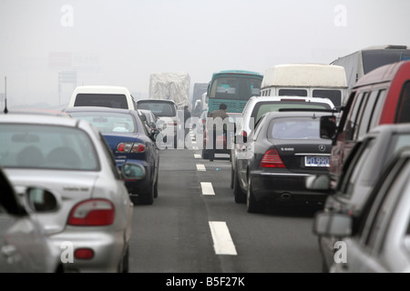 Rush hour on a highway in Shanghai, China - Stock Photo