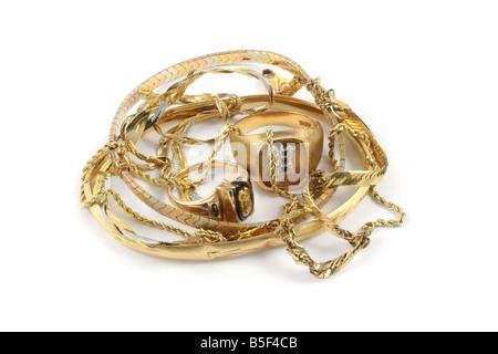 Scrap gold jewelry. - Stock Photo