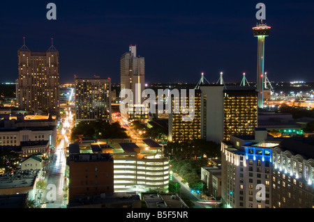 Skyline at dusk, San Antonio, Texas. - Stock Photo