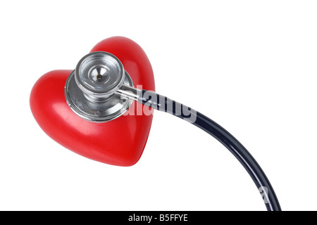 Stethoscope on red heart cutout on white background - Stock Photo