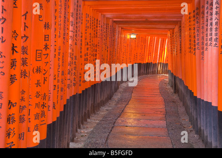 Kyoto City Japan Walkway of torii offering gates at Fushimi Inari Shrine Shinto - Stock Photo