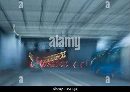 traffic in a tunnel (abstract concept), Gothenburg, Sweden - Stock Photo
