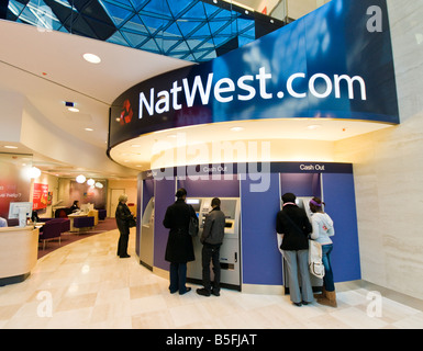 Natwest bank cash points in London - Stock Photo