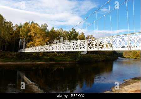 Cambus O May River Dee Suspension Bridge Scotland UK in the autumn - Stock Photo