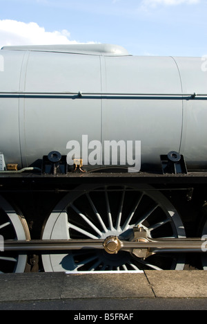 Closeup view of the new A1 class steam locomotive 'Tornado' at Quorn station on the Great Central Railway. - Stock Photo