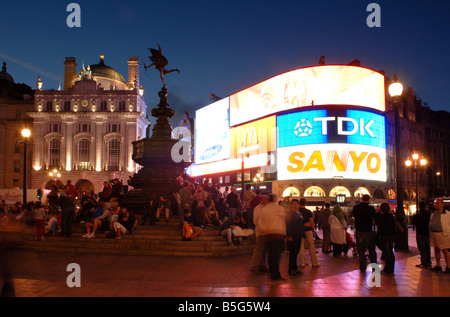 Picadilly Circus West End Regent Street London at night - Stock Photo