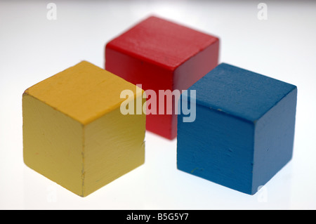Childrens wooden building blocks - Stock Photo