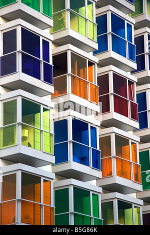 Colored glass windows of the Hesperia Bilbao Hotel in the old quarter of the city of Bilbao Basque Country northern - Stock Photo