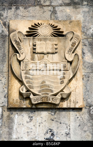 Seal of the University of Deusto in the city of Bilbao Biscay northern Spain - Stock Photo
