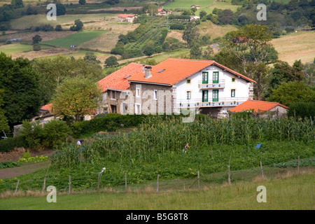 Rural farm near the town of Bermeo in the province of Biscay Basque Country Northern Spain - Stock Photo