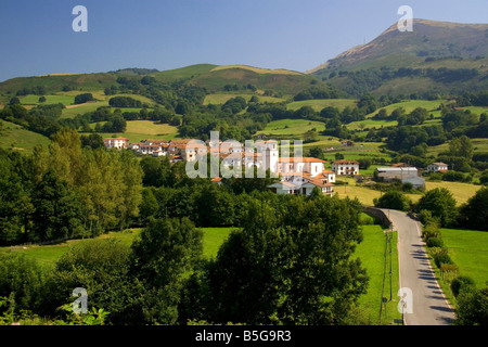 The village of Amaiur in the Baztan Valley of the Navarre region of northern Spain - Stock Photo