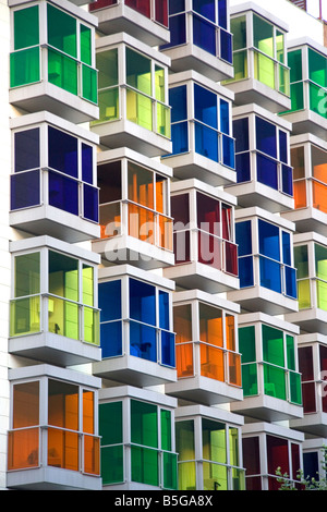 Colored glass windows of the Hesperia Bilbao Hotel in the old quarter of the city of Bilbao Biscay Spain - Stock Photo