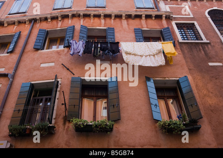 Washing hanging on clothes line Venice Italy EU Europe - Stock Photo