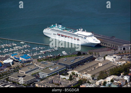 Aerial View Above Carnival Cruise Ship Spirit San Diego Harbor - Cruise ship terminal in san francisco